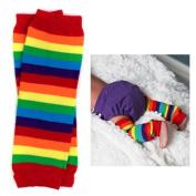 (176) NEWBORN Rainbow Stripe baby girl or boy leg warmers - up to 6.8kg
