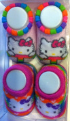 Hello Kitty Baby Booties Socks Peace Multi-Coloured, 2 Pair 0-12 Months.