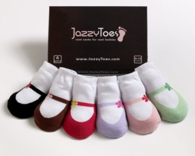 Jazzy Toes Baby Socks: Mary Janes - Girls (12-24M)