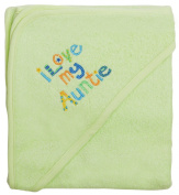 Extra Large 101.6cm x76.2cm Absorbent Hooded Towel, I Love My Auntie (Light Green), Frenchie Mini Couture