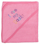 Extra Large 101.6cm x76.2cm Absorbent Hooded Towel, I Love My Daddy (Medium Pink), Frenchie Mini Couture