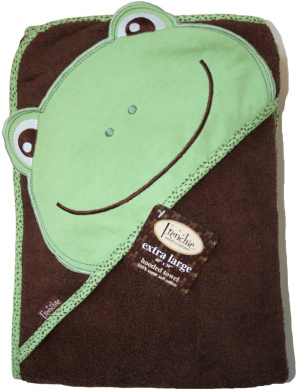 Frenchie Mini Couture Extra Large 101.6cm x76.2cm Absorbent Hooded Towel, Frog
