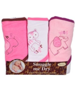 Frenchie Mini Couture Wild Animal Hooded Bath Towel Set, 3 Pack, Girl