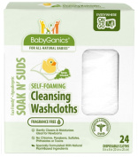 BabyGanics Soakin' Suds Disposible Washcloths - Fragrance Free - 24 ct