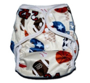 """One Size Fit All- Nappy Covers for Prefolds or Regular Inserts PUL MINKY - SPORTS (PLAYBALL) by """"BubuBibi"""""""