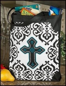 Ornate Cross Crucifix Bookbag Sunday School Grocery Bag Tote Purse Large 40.6cm