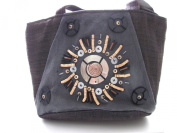 Eco Friendly Burlap Purse Aztec Sun Made of Mother of Pearl, Seashells, and Organic Materials Including Coconut Shells Handmade in the Philippines