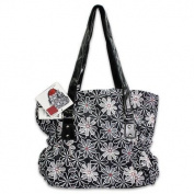 3pc Black Floral Print Nappy Bag with Red Changer & Red Pouch