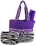Quilted Purple Zebra Striped Nappy Bag Change Pad and Cosmetic Bag