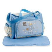 CARE BEARS LARGE BLUE nappy BAG BIG 2 PIECE SET WITH CHANGING PAD NEW