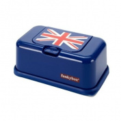 FunkyBox Easy Wipe Dispenser Box Union Jack Flag Navy Box