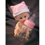 6 Girl Babies with Fillable Baby Bottle Shower Favour