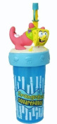 Lovely Spongebob and Patrick Sculped Water Bottle With Straw