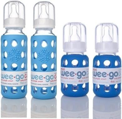 Lifefactory BPA-Free Glass Baby Bottles w/ Silicone Sleeves-4 Pack (9 oz.+4oz. Sky & Ocean)