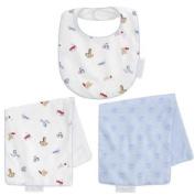 FAO Schwarz Reversible Bib and Burp Cloth Set - Toy Box