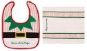 """Santa's Little Helper"" Bib and Burb Cloth Set"