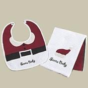 """Santa Baby"" Bib and Burp Cloth Set"