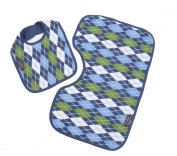 Bib and Burp Cloth in Blue Argyle