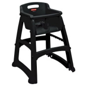 Rubbermaid FG780508BLA Black Sturdy Chair Restaurant High Chair with Wheels