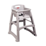 Rubbermaid Commercial Sturdy Chair High Chair with Wheels, Platinum, FG780508PLAT