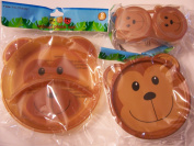Animal Friends Monkey 3 Piece Plastic Dining Set ~ Divided Plates, Snack Containers with Spoons, Travel Bowl with Lid