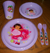 Dora Plate,Cereal Bowl 350ml Sipper Straw Drinking Glass and Matching Spoon and Fork