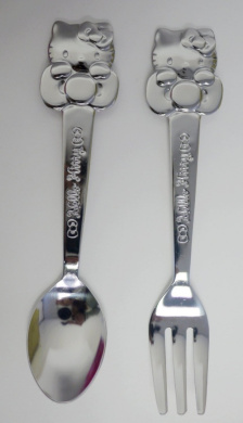 Pair of Sanrio Hello Kitty Stainless Steel Small Fork and Spoon for Fruit, Cake, Etc