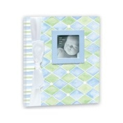 Baby Book in Blue and Green Diamonds by Penny Laine