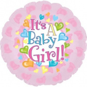 It's a Baby Girl Feet 45.7cm Mylar Double Sided Balloon