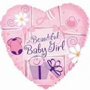 A Beautiful Baby Girl 45.7cm Mylar Double Sided Balloon