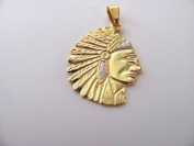 Two Tone Indian Pendant Gold Overlay
