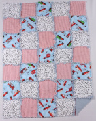 Firetrucks and Dalmations Print Baby Rag Quilt with Matching Burp Cloth and Bib