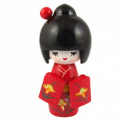 Amico Floral Red Japanese Kimono Smiling Girl Wooden Kokeshi Doll Toy