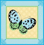 Eeboo Butterfly Blue/green Canvas Wall Art