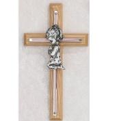 17.8cm PINK OAK GIRLS WALL CROSS BABY INFANT CHRISTENING BAPTISM SHOWER