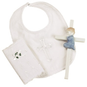 Elegant Baby Boys Christening Gift Set Includes 100% Cotton Bib, Wall Hanging Porcelain Cross & Bib Multi-Coloured