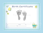 TenLil'Imprints Birth Certificate Kit, Blue/Black