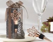 """Lustrous Leaf"" Copper-Finish Bottle Stopper in Laser-Cut Leaf Gift Box - Baby Shower Gifts & Wedding Favours"