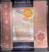 Keepsake Kit for Baby Girl ~ Memory box with lid,20.3cm x 20.3cm Keepsake spiral-bound album with 13 pocket pages, 3 styles 1 yard designer ribbon, 8 printed die-cuts and 85 stickers.