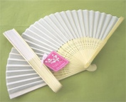 Silk Fan - White - Baby Shower Gifts & Wedding Favours
