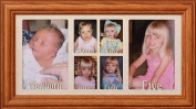 Baby's First Five Years Oak Photo Keepsake Frame ~ 6-Openings ~ Holds 4-2x3 Wallet Pictures & Two-4x6/5x7 Photos ~ Great Baby Shower Gift for the Expecting/New Mother!