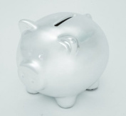 Mini Ceramic Piggy Bank - Ganz Silver Piggy Bank