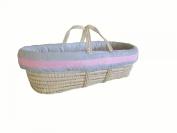 Baby Doll Bedding Zuma Moses Basket Set, Grey/Pink