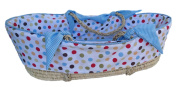 Patricia Ann Designs Cocoa Sky Dot Moses Basket with Cheque Trim, Blue