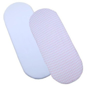 Pack of 2 Fitted Cotton Moses Basket Sheets - 1 White, 1 Pink/aqua cheque