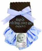 Sue Berk Designs Plush Soft Blankie with the Scripture, Blue Angels Watch Over Me