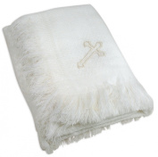 Stephan Baby Christening/Blessing Fringed Shawl Blanket with Embroidered Cross, White