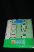 Bon Bebe Flannel Receiving Blankets, Animal, Polka Dots, Stripes, Solid Greens - Pack of 5