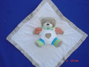 Ellis Baby Blankie Buddies Super Soft 2-in-1 Security Blanket Banky 45.7cm x45.7cm Beige Blankie Lovie w/ 17.8cm Tall Blue Teddy Bear Rattle Toy