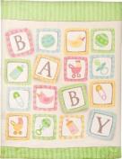 Izzy Coral Fleece Nursery Blanket, Baby Blocks